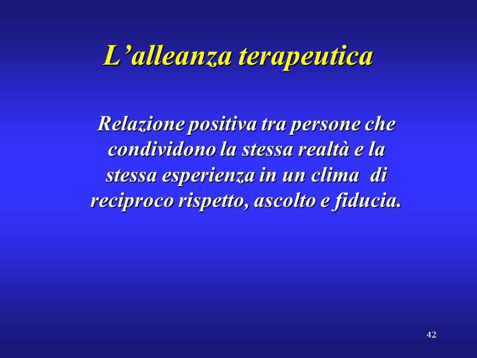 42 Lalleanza terapeutica Relazione positiva tra persone che condividono la stessa realtà e la stessa esperienza in un clima di reciproco rispetto, ascolto e fiducia.