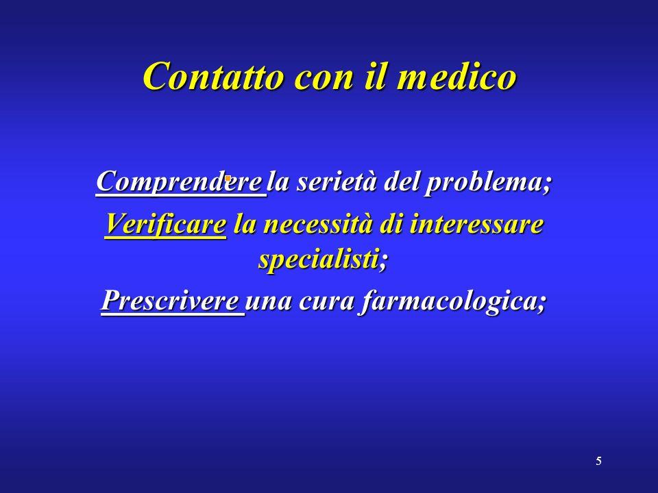 5 Contatto con il medico Comprendere la serietà del problema; Verificare la necessità di interessare specialisti; Prescrivere una cura farmacologica;