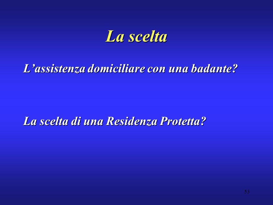 53 La scelta Lassistenza domiciliare con una badante La scelta di una Residenza Protetta