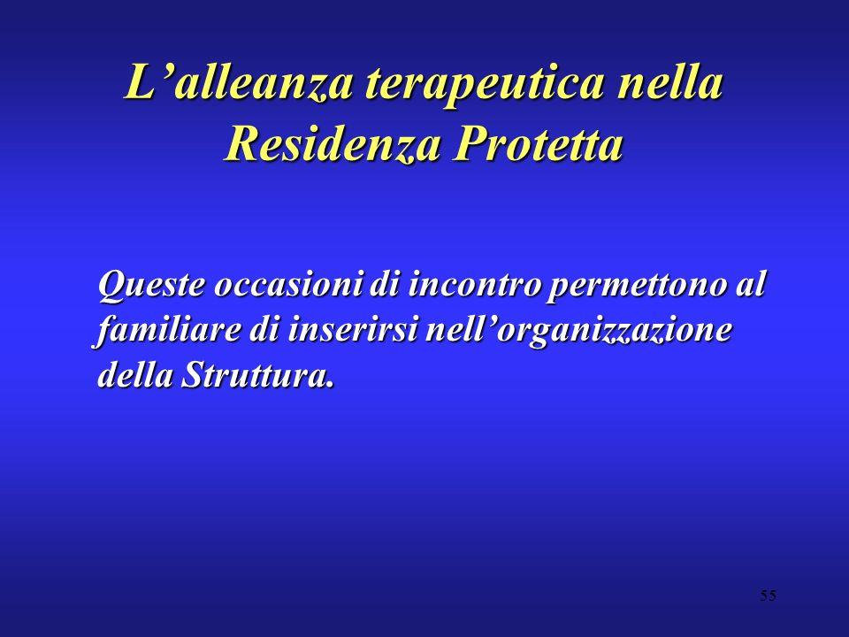 55 Lalleanza terapeutica nella Residenza Protetta Queste occasioni di incontro permettono al familiare di inserirsi nellorganizzazione della Struttura