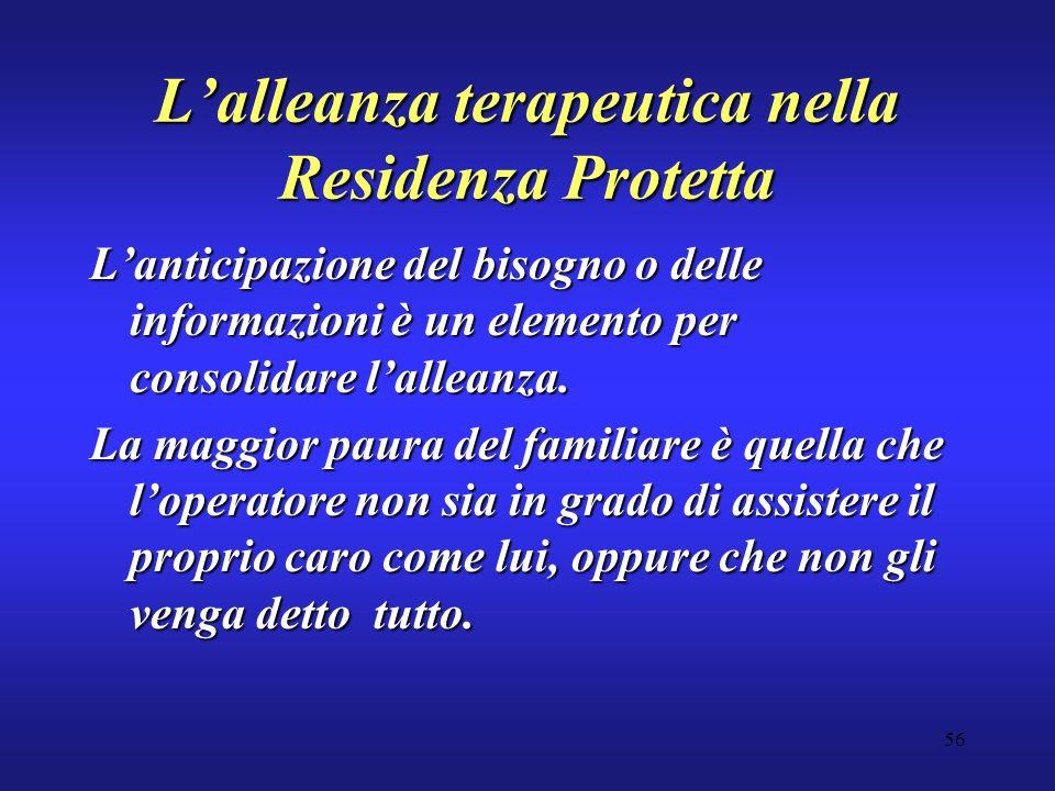 56 Lalleanza terapeutica nella Residenza Protetta Lanticipazione del bisogno o delle informazioni è un elemento per consolidare lalleanza.