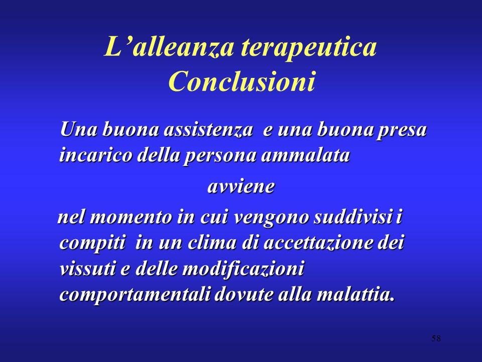 58 Lalleanza terapeutica Conclusioni Una buona assistenza e una buona presa incarico della persona ammalata avviene nel momento in cui vengono suddivi