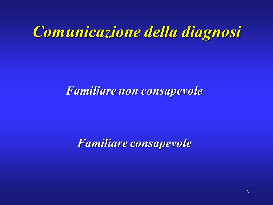 7 Comunicazione della diagnosi Familiare non consapevole Familiare consapevole