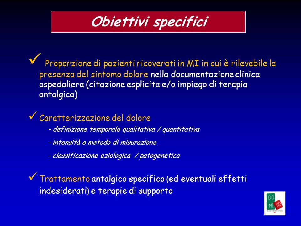 Proporzione di pazienti ricoverati in MI in cui è rilevabile la presenza del sintomo dolore nella documentazione clinica ospedaliera (citazione esplic