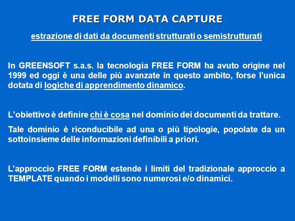 FREE FORM DATA CAPTURE estrazione di dati da documenti strutturati o semistrutturati In GREENSOFT s.a.s.