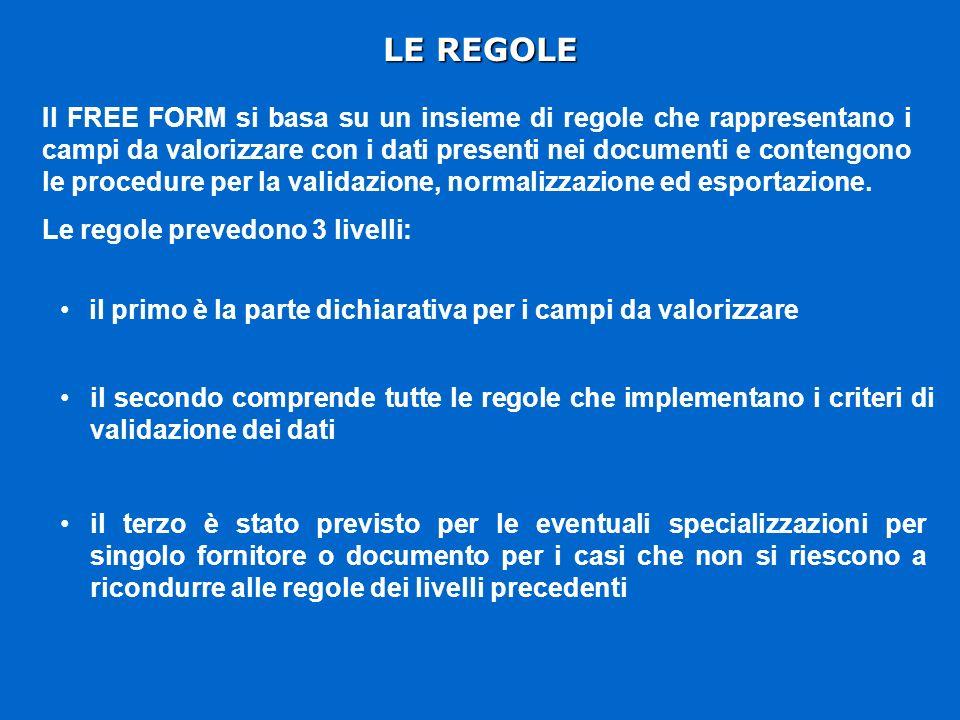 LE REGOLE Il FREE FORM si basa su un insieme di regole che rappresentano i campi da valorizzare con i dati presenti nei documenti e contengono le procedure per la validazione, normalizzazione ed esportazione.