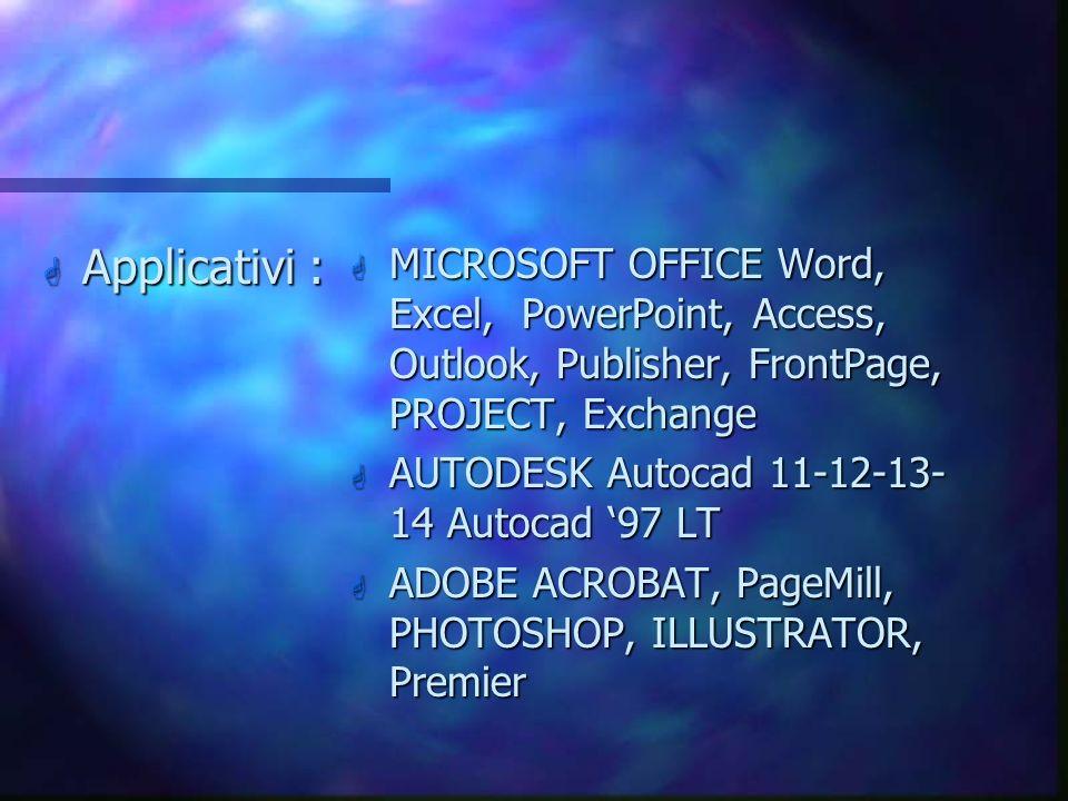 G MS WINDOWS NT SERVER, MS WINDOWS NT WS, 3.xx/95/98 G NOVELL APPLE Shere, MAC-OS G LOTUS NOTES G MS EXCHANGE Server G MS Visual Basic & SQL server, M