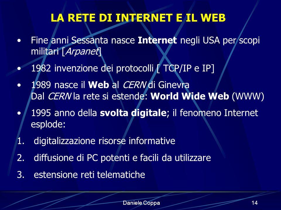 Daniele Coppa13 Informazione in formato digitale Linguaggio macchina 2 cifre: 0 e 1 linguaggio binario 0 / 1 un bit di informazione Carattere 8 bit = un byte Memoria HD di un attuale PC: 40 Gb 40 mld di byte Tot.