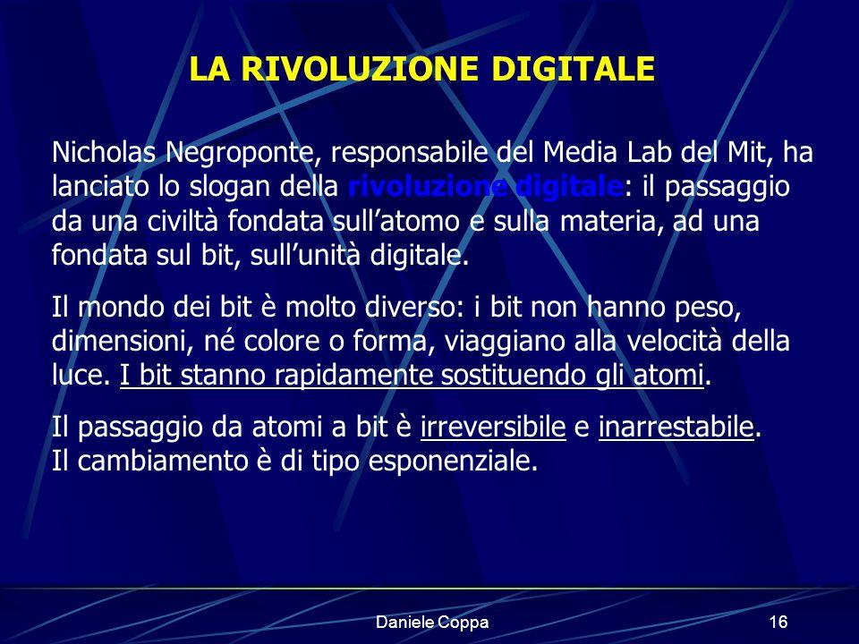 Daniele Coppa15 La nostra società postindustriale In essa linformazione ha importanza fondamentale e diventa fattore della produttività.