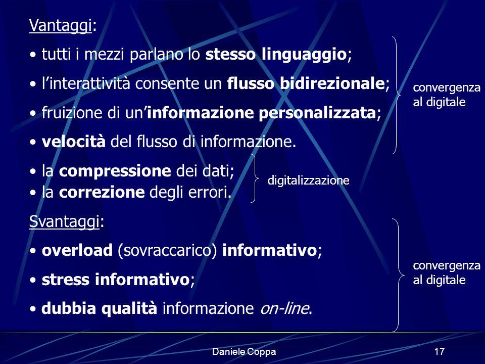 Daniele Coppa16 Nicholas Negroponte, responsabile del Media Lab del Mit, ha lanciato lo slogan della rivoluzione digitale: il passaggio da una civiltà fondata sullatomo e sulla materia, ad una fondata sul bit, sullunità digitale.