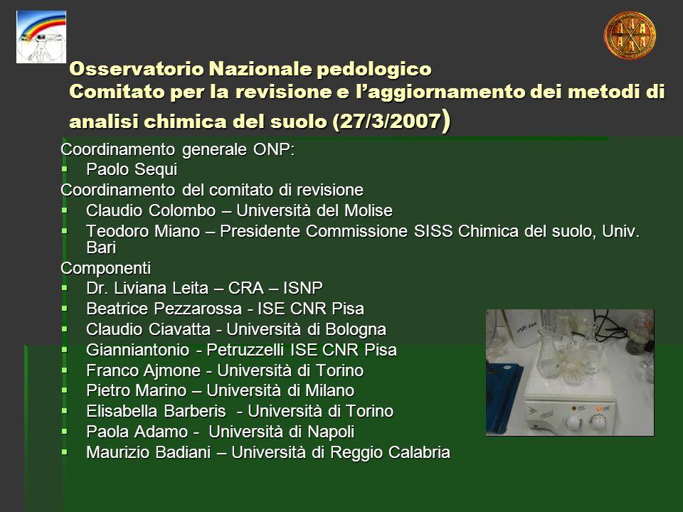 Osservatorio Nazionale pedologico Comitato per la revisione e laggiornamento dei metodi di analisi chimica del suolo (27/3/2007 ) Coordinamento genera