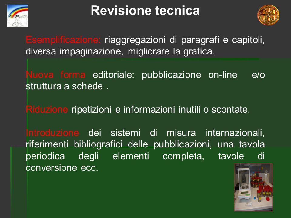 Revisione tecnica Esemplificazione: riaggregazioni di paragrafi e capitoli, diversa impaginazione, migliorare la grafica. Nuova forma editoriale: pubb