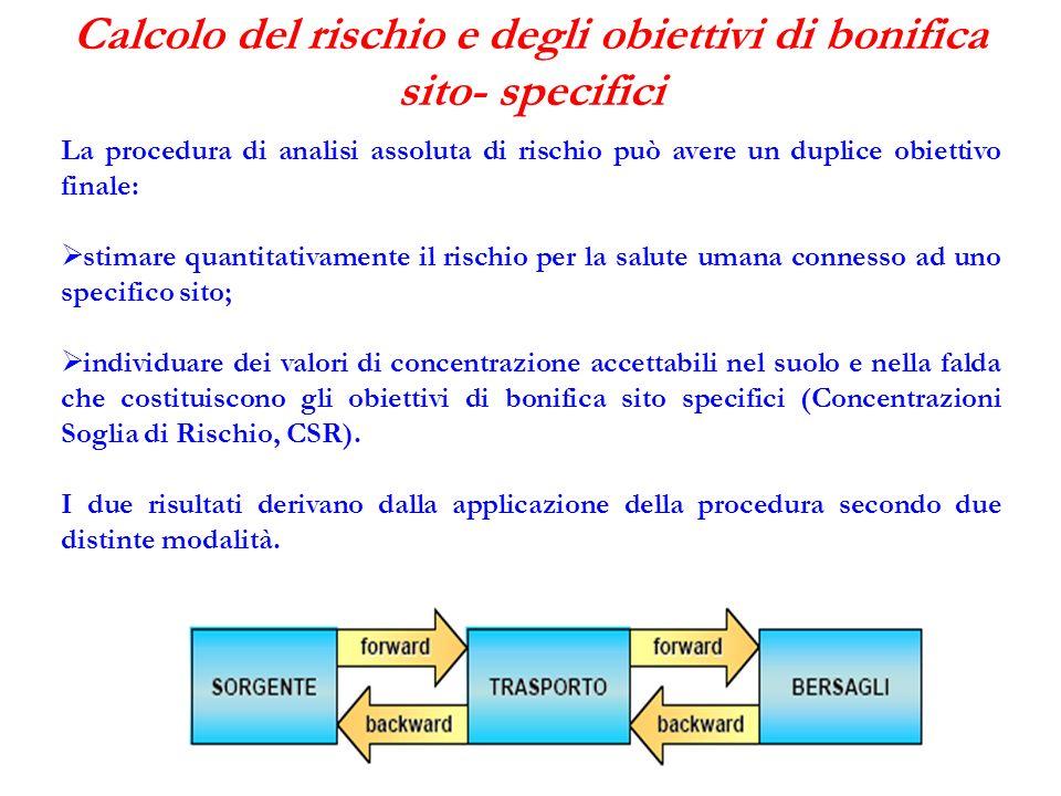 Calcolo del rischio e degli obiettivi di bonifica sito- specifici La procedura di analisi assoluta di rischio può avere un duplice obiettivo finale: s