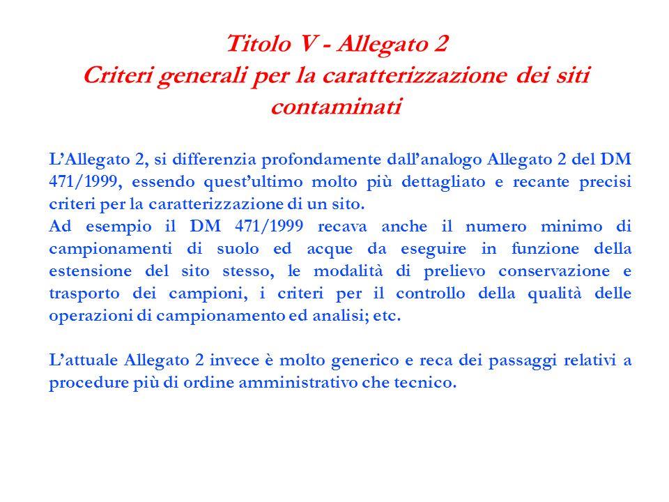 Titolo V - Allegato 2 Criteri generali per la caratterizzazione dei siti contaminati LAllegato 2, si differenzia profondamente dallanalogo Allegato 2