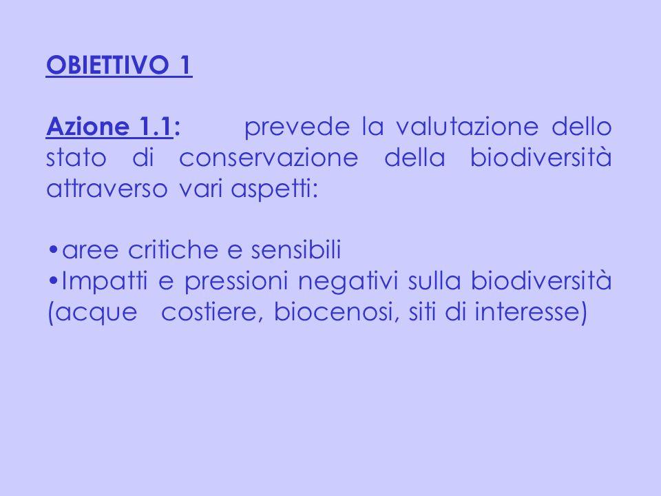 Azione 1.1: prevede la valutazione dello stato di conservazione della biodiversità attraverso vari aspetti: aree critiche e sensibili Impatti e pressi