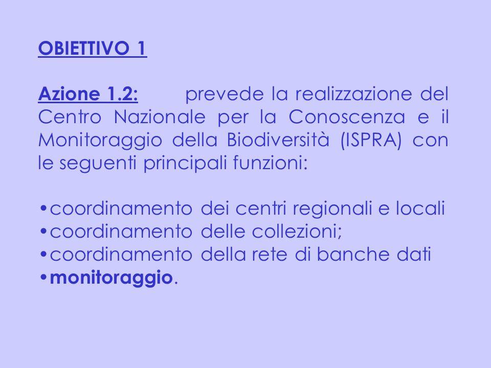 OBIETTIVO 1 Azione 1.2: prevede la realizzazione del Centro Nazionale per la Conoscenza e il Monitoraggio della Biodiversità (ISPRA) con le seguenti p