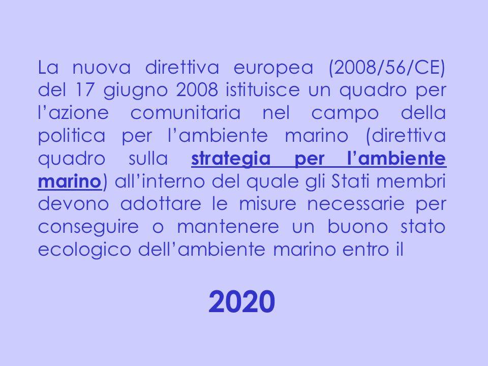 La nuova direttiva europea (2008/56/CE) del 17 giugno 2008 istituisce un quadro per lazione comunitaria nel campo della politica per lambiente marino
