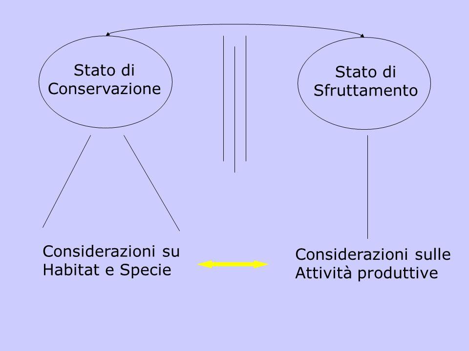 Stato di Conservazione Stato di Sfruttamento Considerazioni su Habitat e Specie Considerazioni sulle Attività produttive