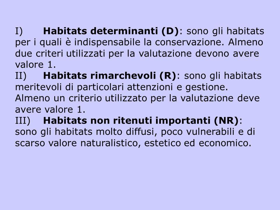 I)Habitats determinanti (D): sono gli habitats per i quali è indispensabile la conservazione. Almeno due criteri utilizzati per la valutazione devono