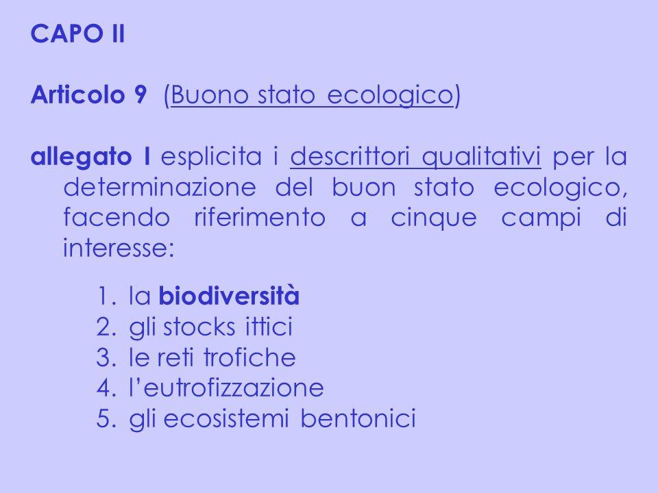 CAPO II Articolo 9 (Buono stato ecologico) allegato I esplicita i descrittori qualitativi per la determinazione del buon stato ecologico, facendo rife
