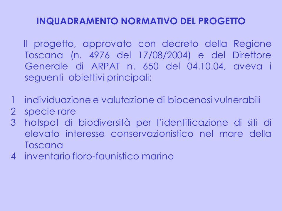 INQUADRAMENTO NORMATIVO DEL PROGETTO Il progetto, approvato con decreto della Regione Toscana (n. 4976 del 17/08/2004) e del Direttore Generale di ARP