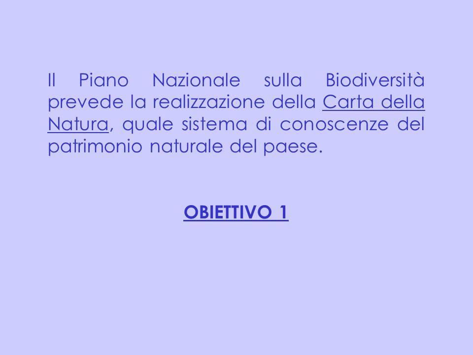 Il Piano Nazionale sulla Biodiversità prevede la realizzazione della Carta della Natura, quale sistema di conoscenze del patrimonio naturale del paese