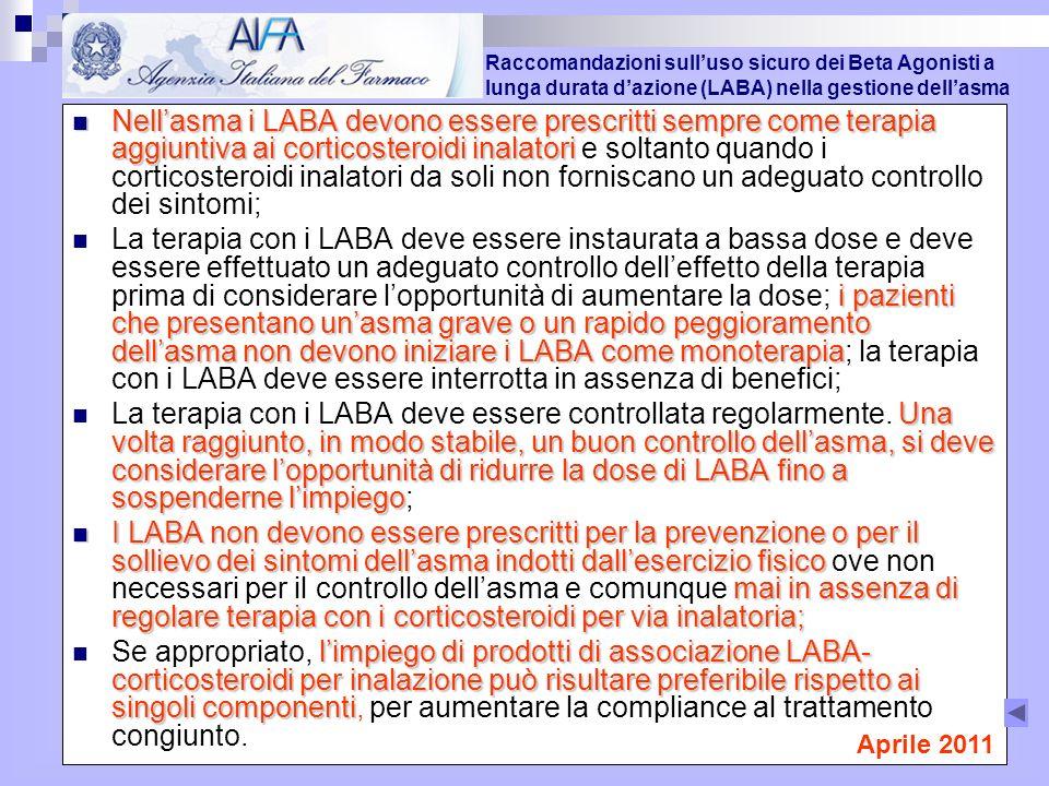 Nellasma i LABA devono essere prescritti sempre come terapia aggiuntiva ai corticosteroidi inalatori Nellasma i LABA devono essere prescritti sempre come terapia aggiuntiva ai corticosteroidi inalatori e soltanto quando i corticosteroidi inalatori da soli non forniscano un adeguato controllo dei sintomi; i pazienti che presentano unasma grave o un rapido peggioramento dellasma non devono iniziare i LABA come monoterapia La terapia con i LABA deve essere instaurata a bassa dose e deve essere effettuato un adeguato controllo delleffetto della terapia prima di considerare lopportunità di aumentare la dose; i pazienti che presentano unasma grave o un rapido peggioramento dellasma non devono iniziare i LABA come monoterapia; la terapia con i LABA deve essere interrotta in assenza di benefici; Una volta raggiunto, in modo stabile, un buon controllo dellasma, si deve considerare lopportunità di ridurre la dose di LABA fino a sospenderne limpiego La terapia con i LABA deve essere controllata regolarmente.