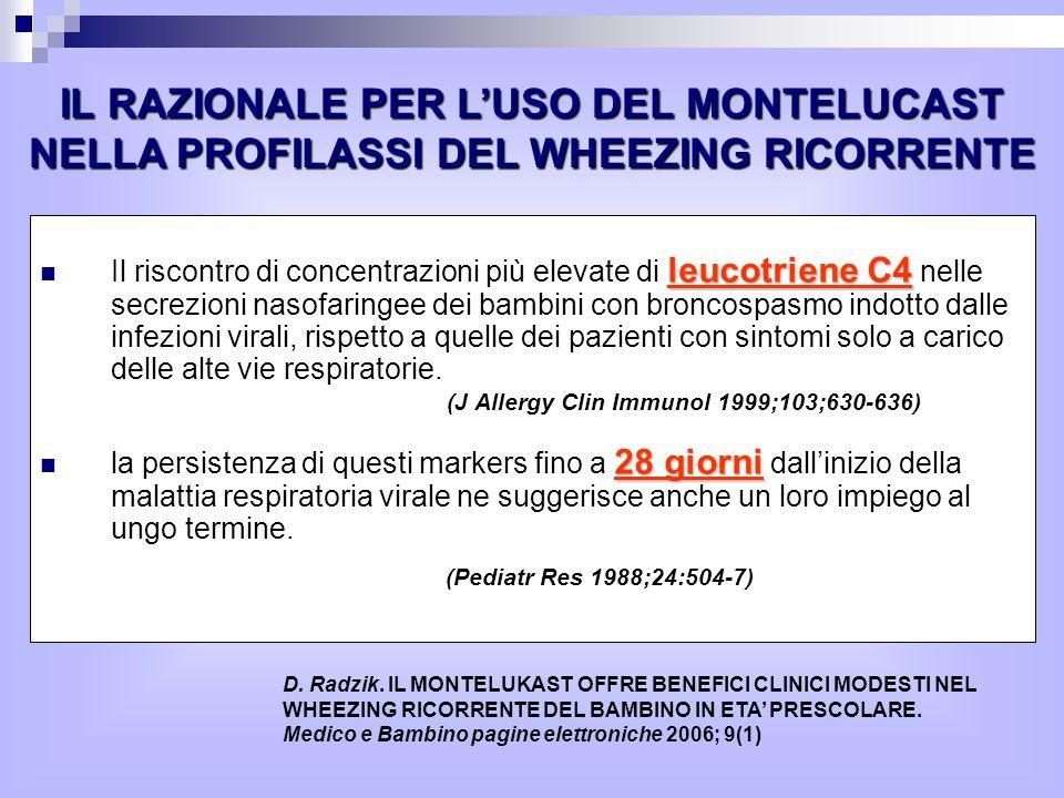leucotriene C4 Il riscontro di concentrazioni più elevate di leucotriene C4 nelle secrezioni nasofaringee dei bambini con broncospasmo indotto dalle infezioni virali, rispetto a quelle dei pazienti con sintomi solo a carico delle alte vie respiratorie.