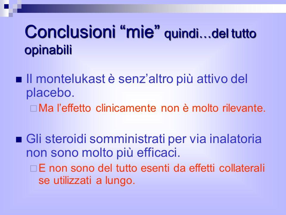 Conclusioni mie quindi…del tutto opinabili Il montelukast è senzaltro più attivo del placebo.