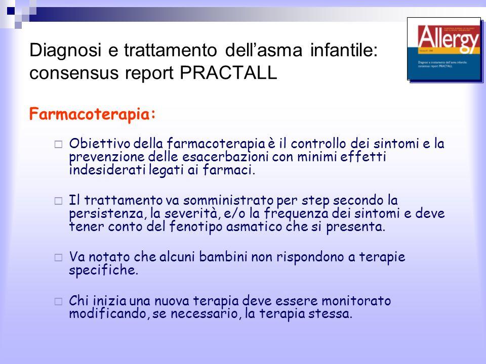 Diagnosi e trattamento dellasma infantile: consensus report PRACTALL Farmacoterapia: Obiettivo della farmacoterapia è il controllo dei sintomi e la prevenzione delle esacerbazioni con minimi effetti indesiderati legati ai farmaci.