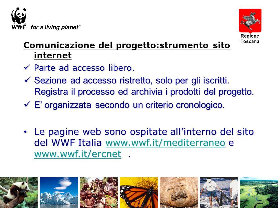 Comunicazione del progetto:strumento sito internet Parte ad accesso libero.