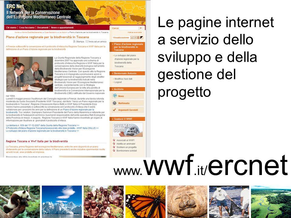 www. wwf.it/ ercnet Le pagine internet a servizio dello sviluppo e della gestione del progetto