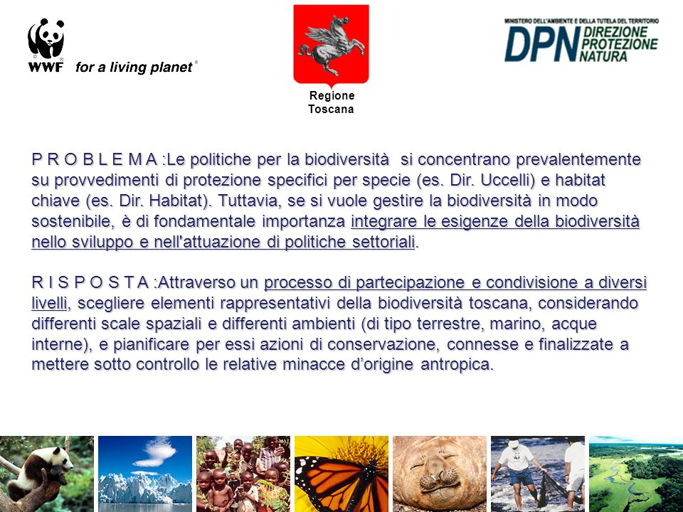 Regione Toscana P R O B L E M A :Le politiche per la biodiversità si concentrano prevalentemente su provvedimenti di protezione specifici per specie (es.