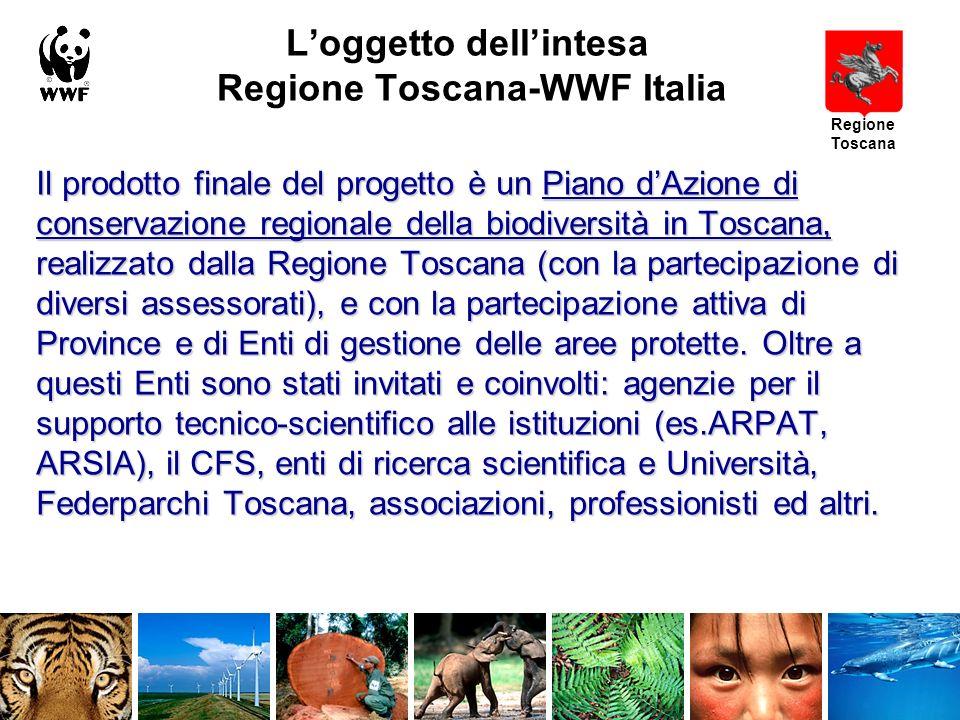 Loggetto dellintesa Regione Toscana-WWF Italia Il prodotto finale del progetto è un Piano dAzione di conservazione regionale della biodiversità in Toscana, realizzato dalla Regione Toscana (con la partecipazione di diversi assessorati), e con la partecipazione attiva di Province e di Enti di gestione delle aree protette.