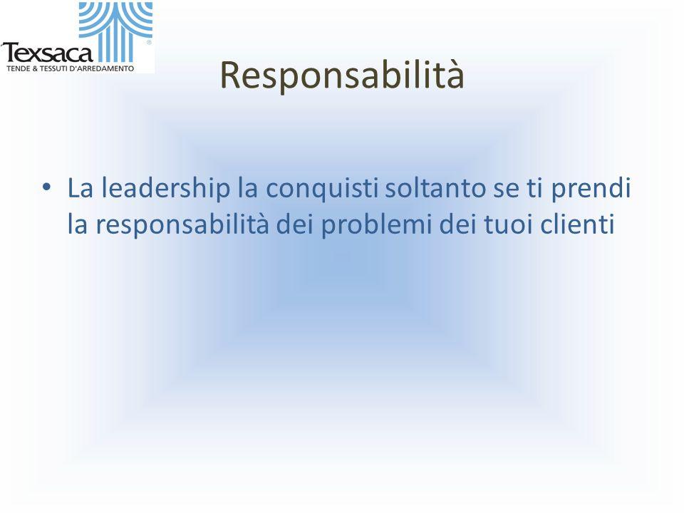 Responsabilità La leadership la conquisti soltanto se ti prendi la responsabilità dei problemi dei tuoi clienti