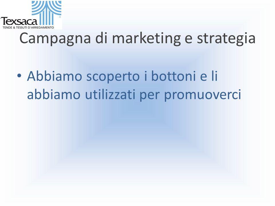 Campagna di marketing e strategia Abbiamo scoperto i bottoni e li abbiamo utilizzati per promuoverci