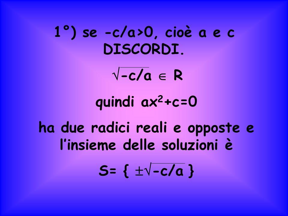 1°) se -c/a>0, cioè a e c DISCORDI. -c/a R quindi ax 2 +c=0 ha due radici reali e opposte e linsieme delle soluzioni è S= { -c/a }