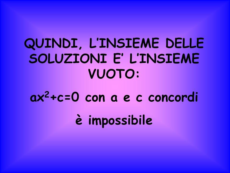 QUINDI, LINSIEME DELLE SOLUZIONI E LINSIEME VUOTO: ax 2 +c=0 con a e c concordi è impossibile