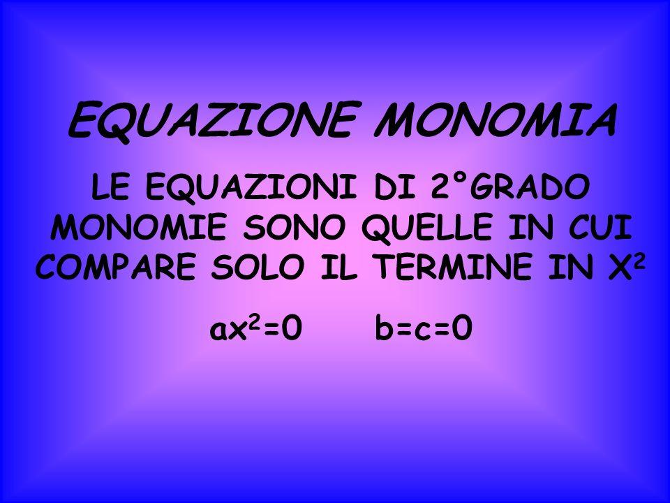 EQUAZIONE MONOMIA LE EQUAZIONI DI 2°GRADO MONOMIE SONO QUELLE IN CUI COMPARE SOLO IL TERMINE IN X2X2 ax 2 =0 b=c=0