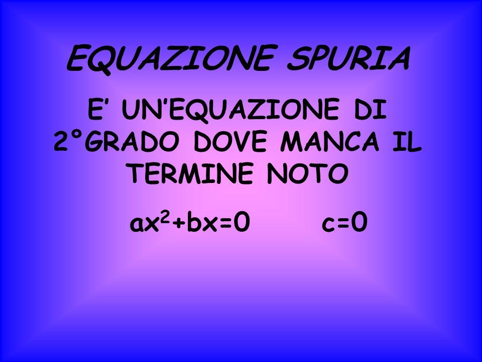 EQUAZIONE SPURIA E UNEQUAZIONE DI 2°GRADO DOVE MANCA IL TERMINE NOTO ax 2 +bx=0 c=0