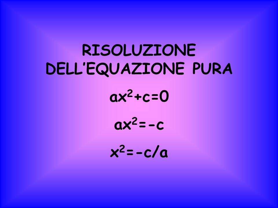 RISOLUZIONE DELLEQUAZIONE PURA ax 2 +c=0 ax 2 =-c x 2 =-c/a