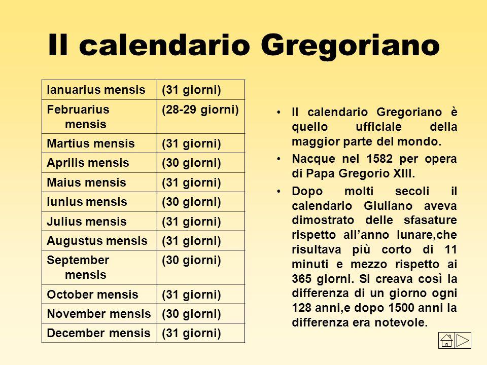 Il calendario Gregoriano Il calendario Gregoriano è quello ufficiale della maggior parte del mondo. Nacque nel 1582 per opera di Papa Gregorio XIII. D