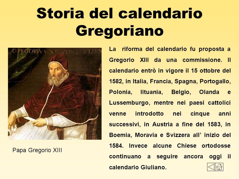 Storia del calendario Gregoriano La riforma del calendario fu proposta a Gregorio XIII da una commissione. Il calendario entrò in vigore il 15 ottobre