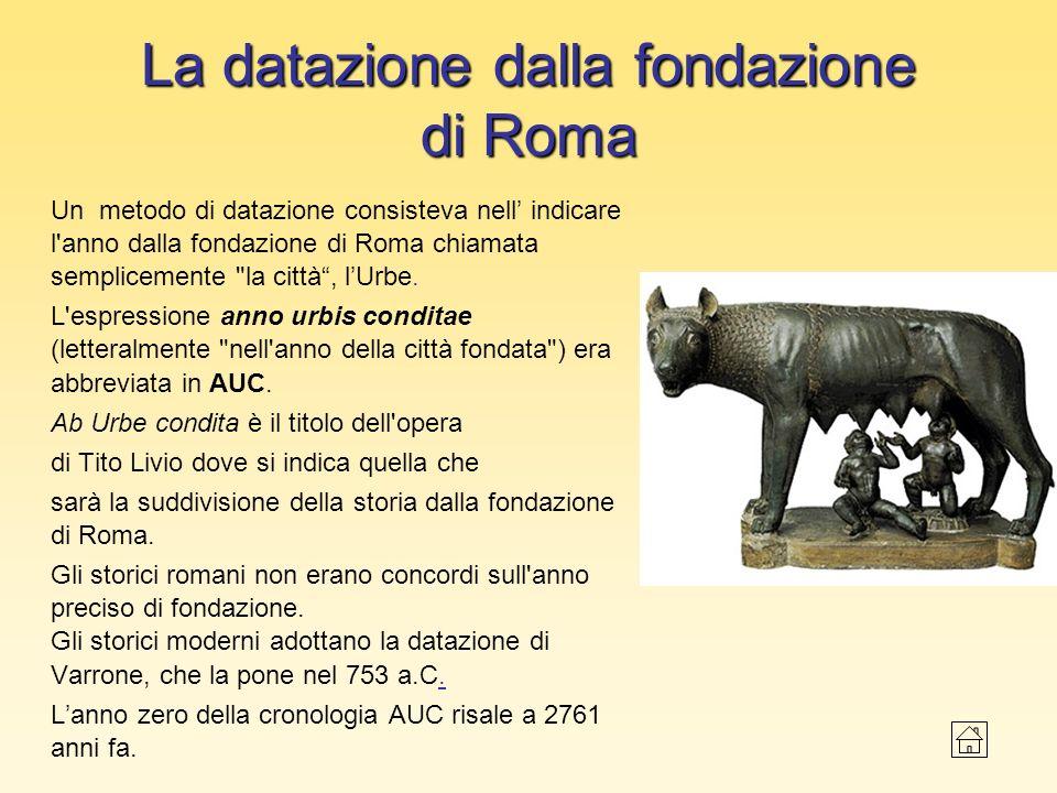 La datazione dalla fondazione di Roma Un metodo di datazione consisteva nell indicare l'anno dalla fondazione di Roma chiamata semplicemente