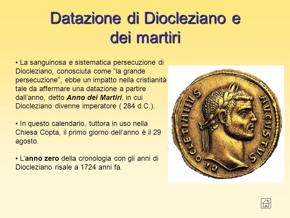 Datazione di Diocleziano e dei martiri La sanguinosa e sistematica persecuzione di Diocleziano, conosciuta come la grande persecuzione, ebbe un impatt