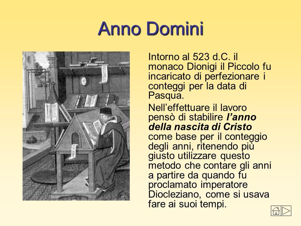 Anno Domini Intorno al 523 d.C. il monaco Dionigi il Piccolo fu incaricato di perfezionare i conteggi per la data di Pasqua. Nelleffettuare il lavoro