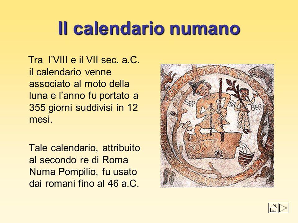 I mesi, di 29 o 31 giorni, avevano i seguenti nomi: Martius mensis (sacro a Marte) Aprilis mensis (sacro ad una divinità di origine Etrusca) Maius mensis (sacro a Maia) Iunius mensis (sacro a Giunone) Quintilis mensis (il 5° mese dell anno) Sexstilis mensis (il 6° mese dell anno) September mensis (il 7° mese dell anno) October mensis (il 8° mese dell anno) November mensis (il 9° mese dell anno) December mensis (il 10°mese dell anno) Ianuarius mensis (sacro a Giano) Februarius mensis (durava 28 giorni ed era l unico mese con un numero pari di giorni)