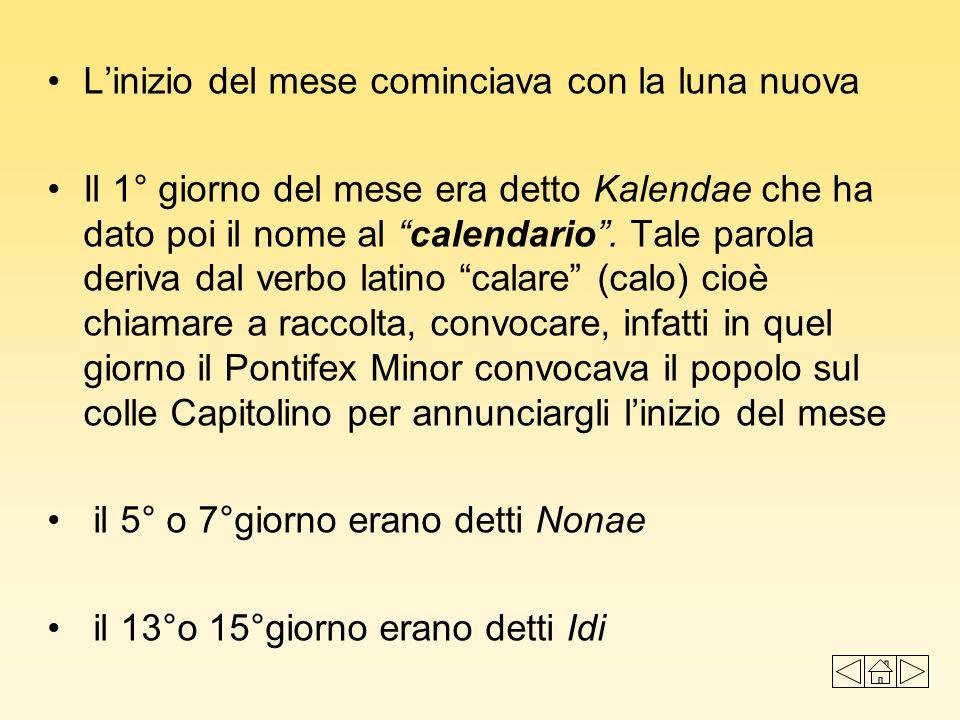 Linizio del mese cominciava con la luna nuova Il 1° giorno del mese era detto Kalendae che ha dato poi il nome al calendario. Tale parola deriva dal v