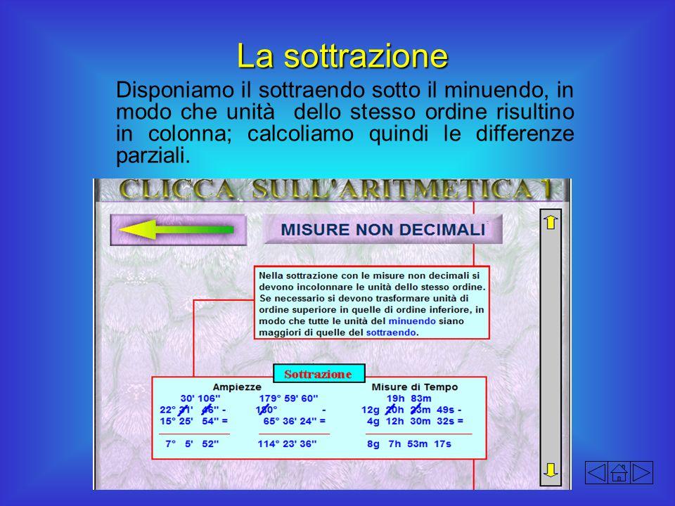 La sottrazione Disponiamo il sottraendo sotto il minuendo, in modo che unità dello stesso ordine risultino in colonna; calcoliamo quindi le differenze