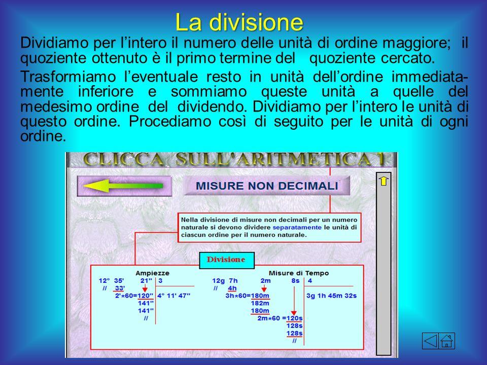 La divisione Dividiamo per lintero il numero delle unità di ordine maggiore; il quoziente ottenuto è il primo termine del quoziente cercato. Trasformi